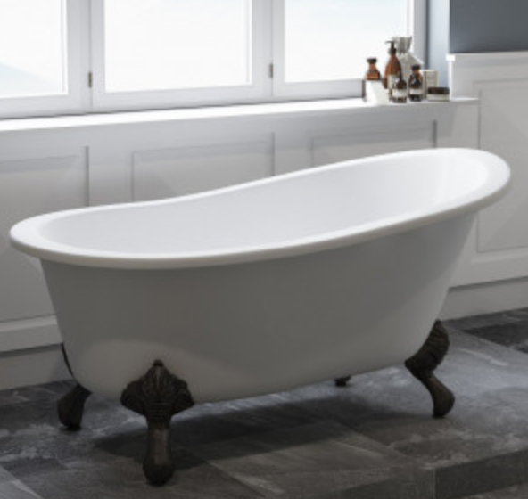 Tub Connection Chariton Cast Iron Clawfoot Single-Slipper Tub
