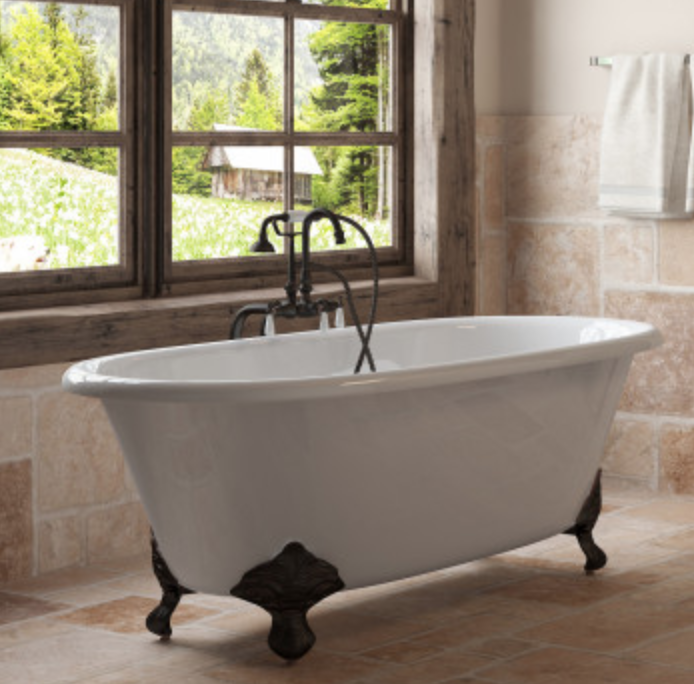 Tub Connection Vernon Cast Iron Double-ended Clawfoot Tub with Handheld Shower