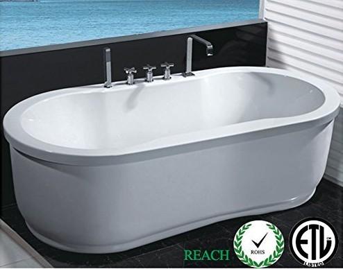 MCP Freestanding Jetted Massage Hydrotherapy Bathtub, Indoor Whirlpool Hot Bath Tub