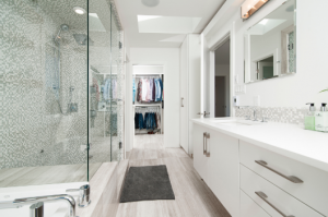 modern looking white bathroom