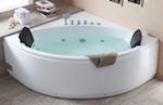 EAGO AM200 5-Feet Rounded Modern Double Seat Corner Whirlpool Bath Tub