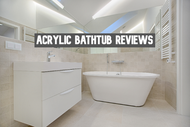A white and tan bathroom withe one of the best acrylic bathtubs of the year