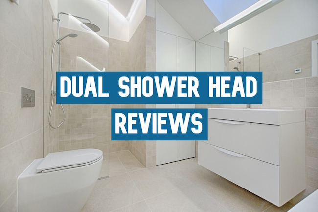One of the best dual shower heads in a white and tan bathroom